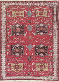 Geometric Red Sumak Turkish Oriental Hand-Woven Area Rug Wool 8x11