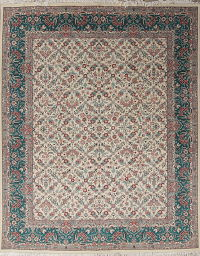 Floral Ivory Aubusson Pak Persian Oriental Hand-Knotted Area Rug Wool 8x10