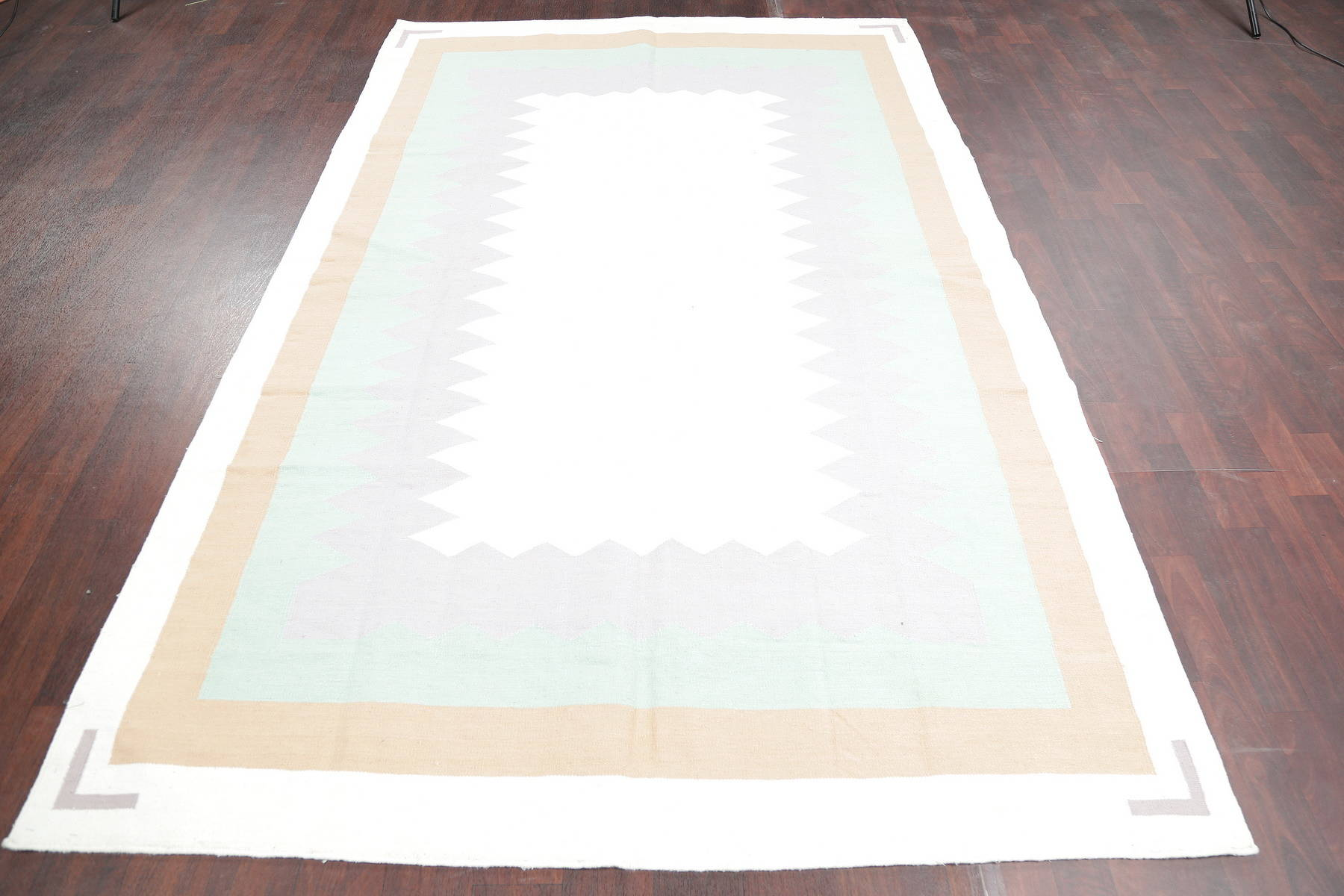 Geometric Ivory Kilim Indian Oriental Hand-Woven Area Rug Wool 6x9