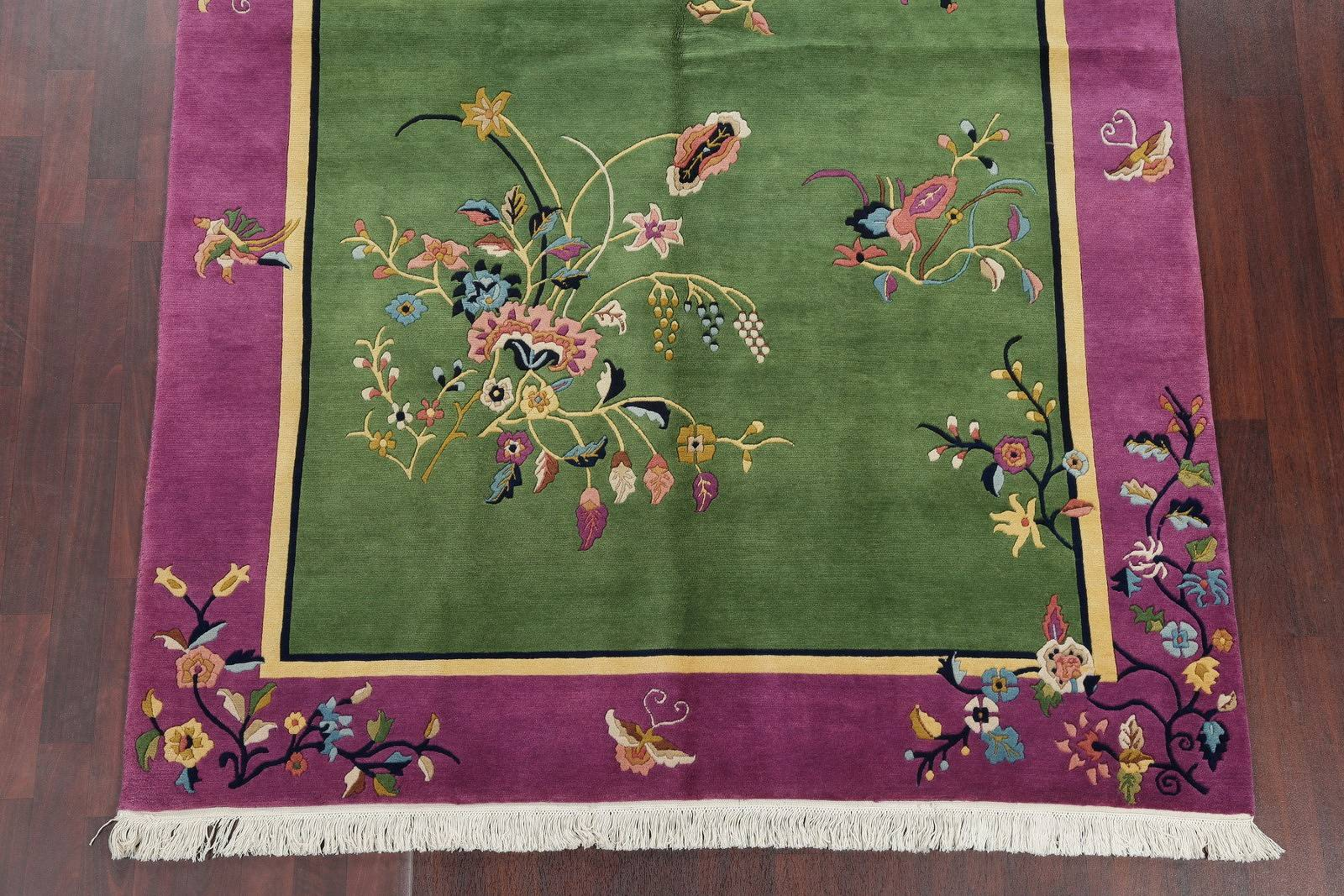 Transitional Floral Green Art Deco Chinese Oriental Hand-Knotted Area Rug Wool 6x9