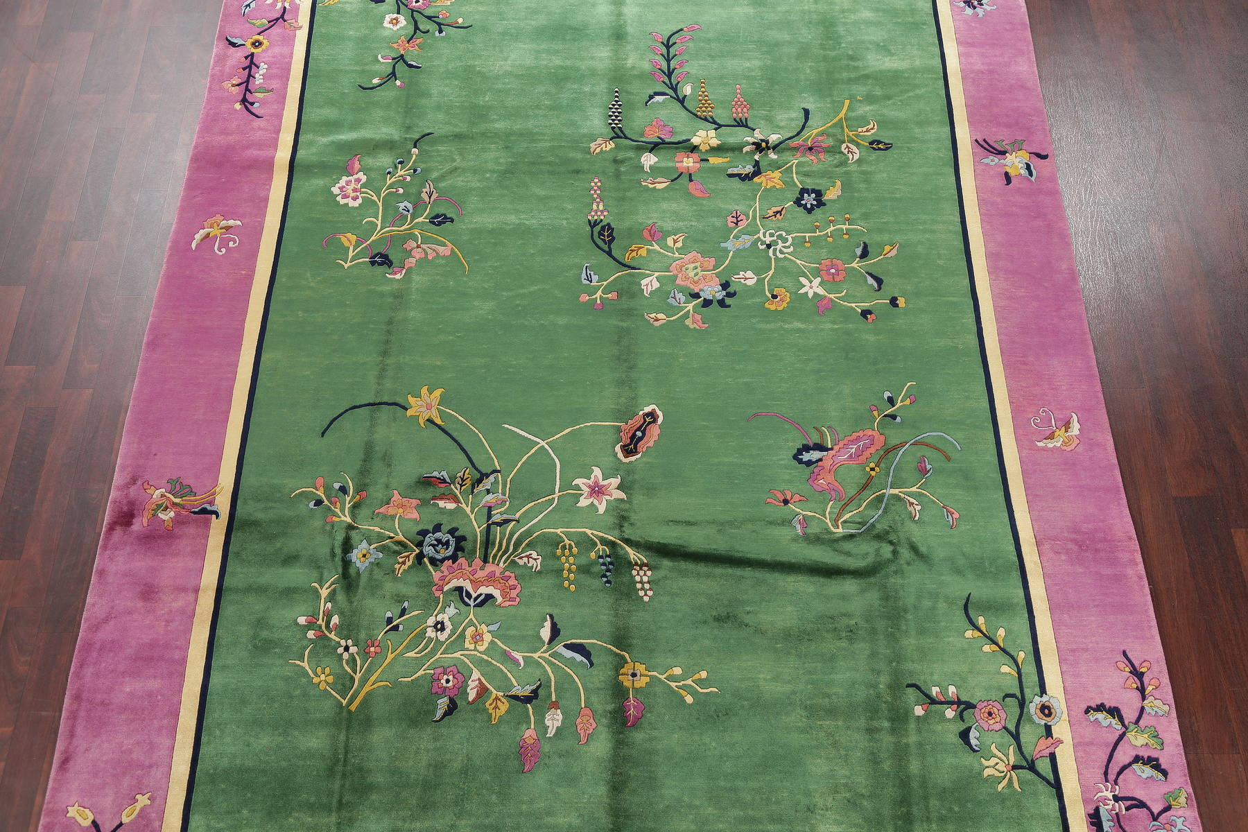 Transitional Floral Green Art Deco Chinese Oriental Hand-Knotted Area Rug Wool 9x12