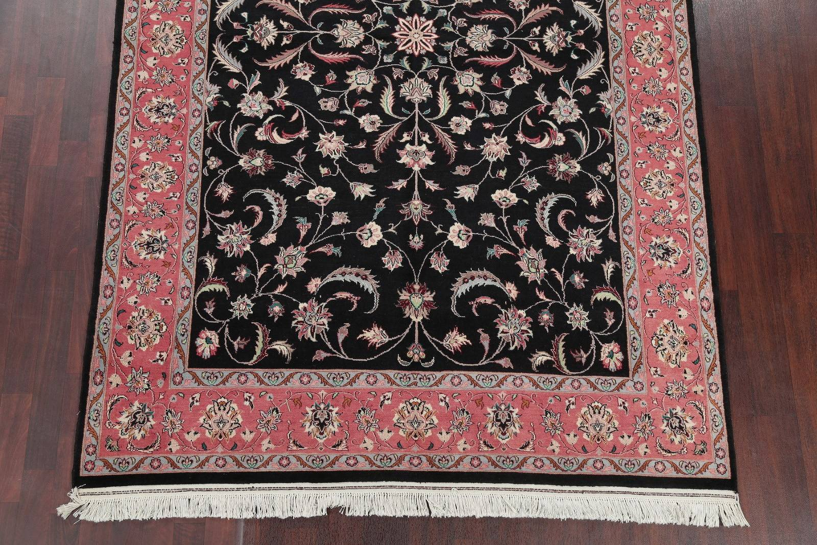 Floral Black Kashan Oriental Hand-Knotted Area Rug Wool 6x9