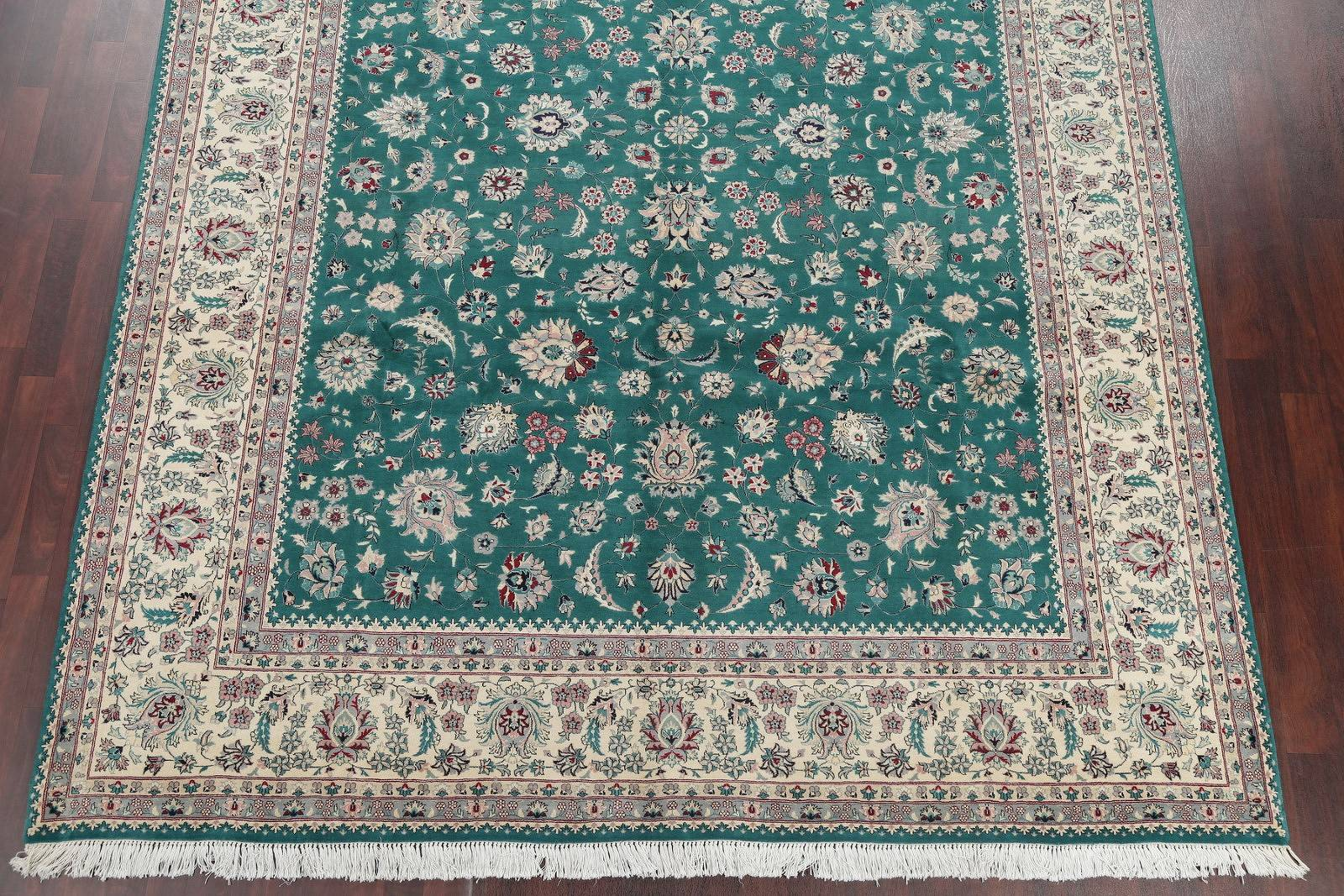 Floral Green Kashan Oriental Hand-Knotted Area Rug Wool 9x12