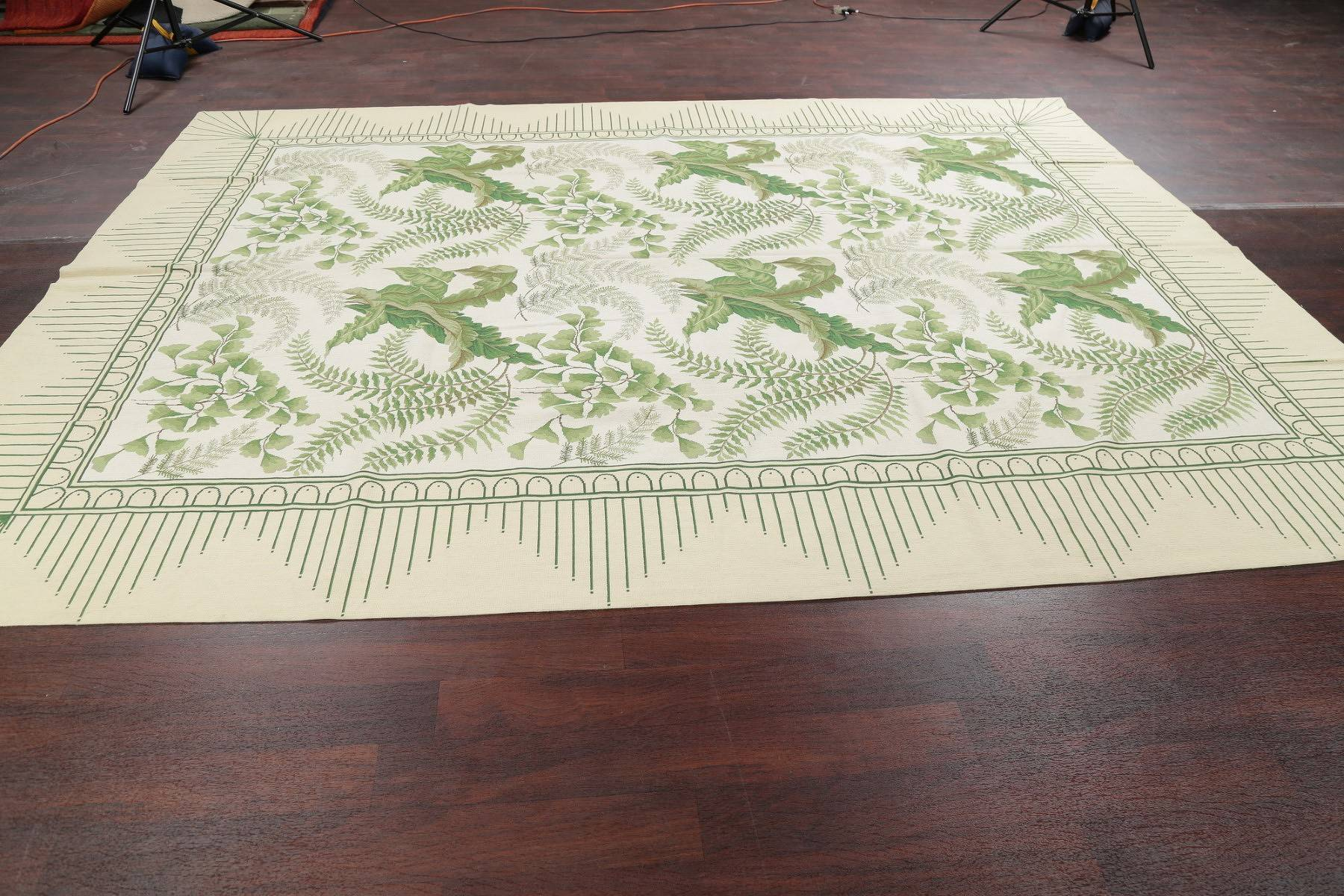 Floral Green Aubusson Chinese Oriental Hand-Woven Area Rug Wool 9X12
