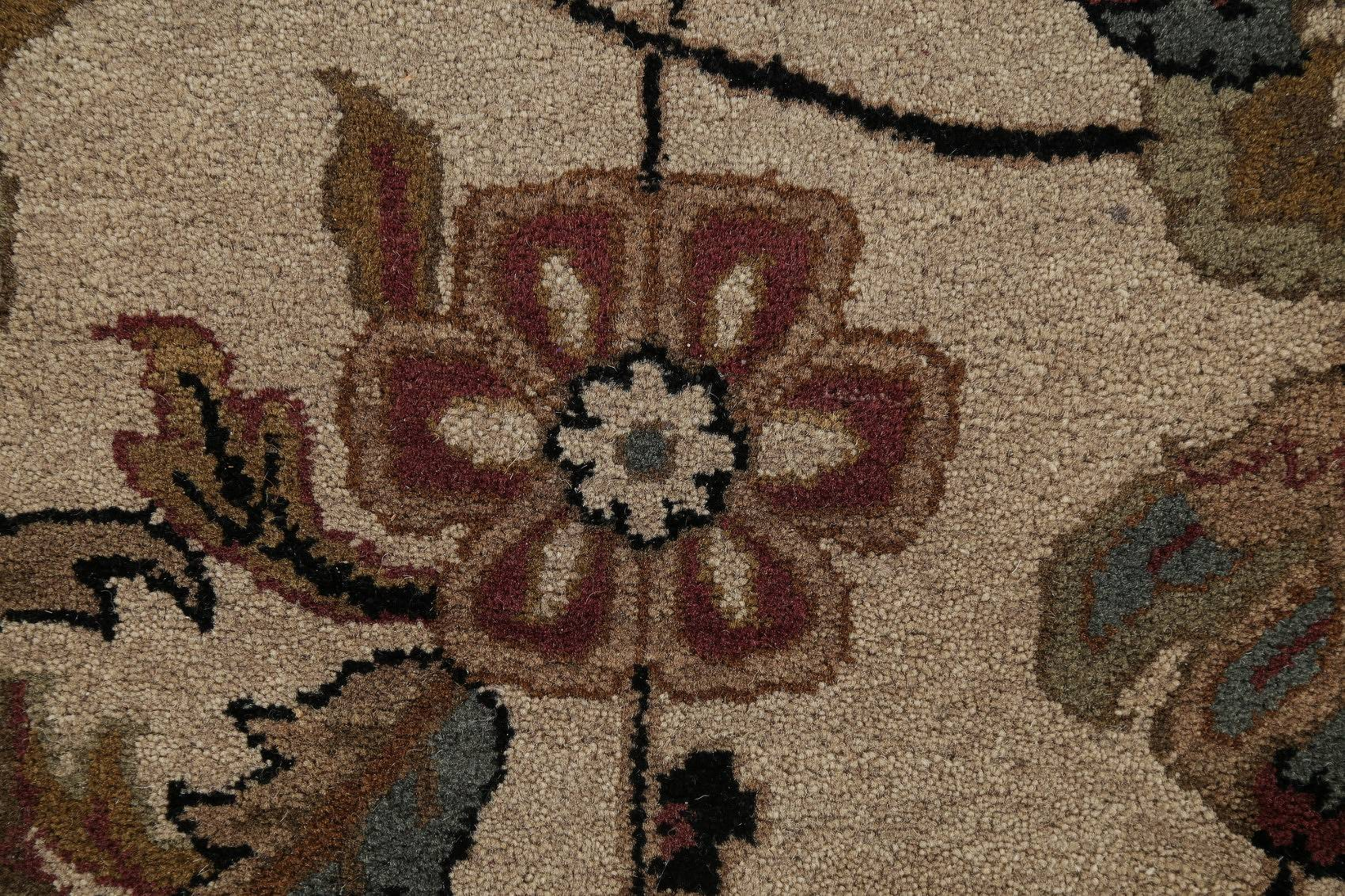 Floral Beige Agra Indo Oriental Area Hand-Knotted Rug Wool 12x15
