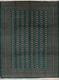 Geometric Green Bokhara Pakistan Oriental Hand-Knotted Area Rug Wool 9x12