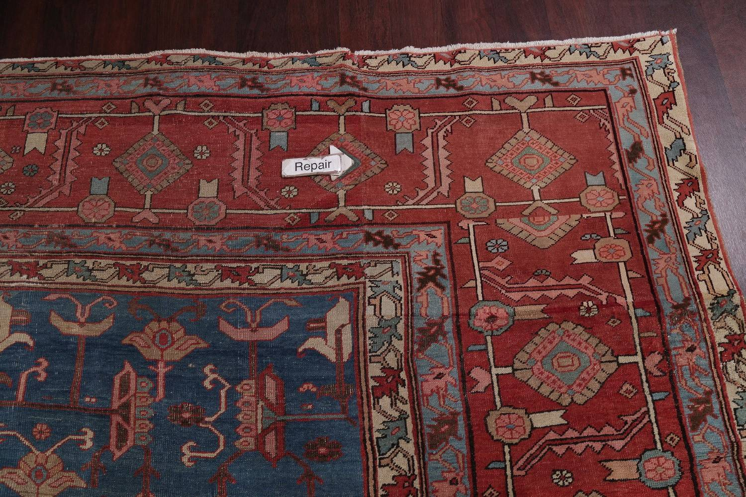 100% Vegetable Dye Tribal Red Heriz Serapi Bakhshayesh Persian Hand-Knotted Area Rug Wool 12x18