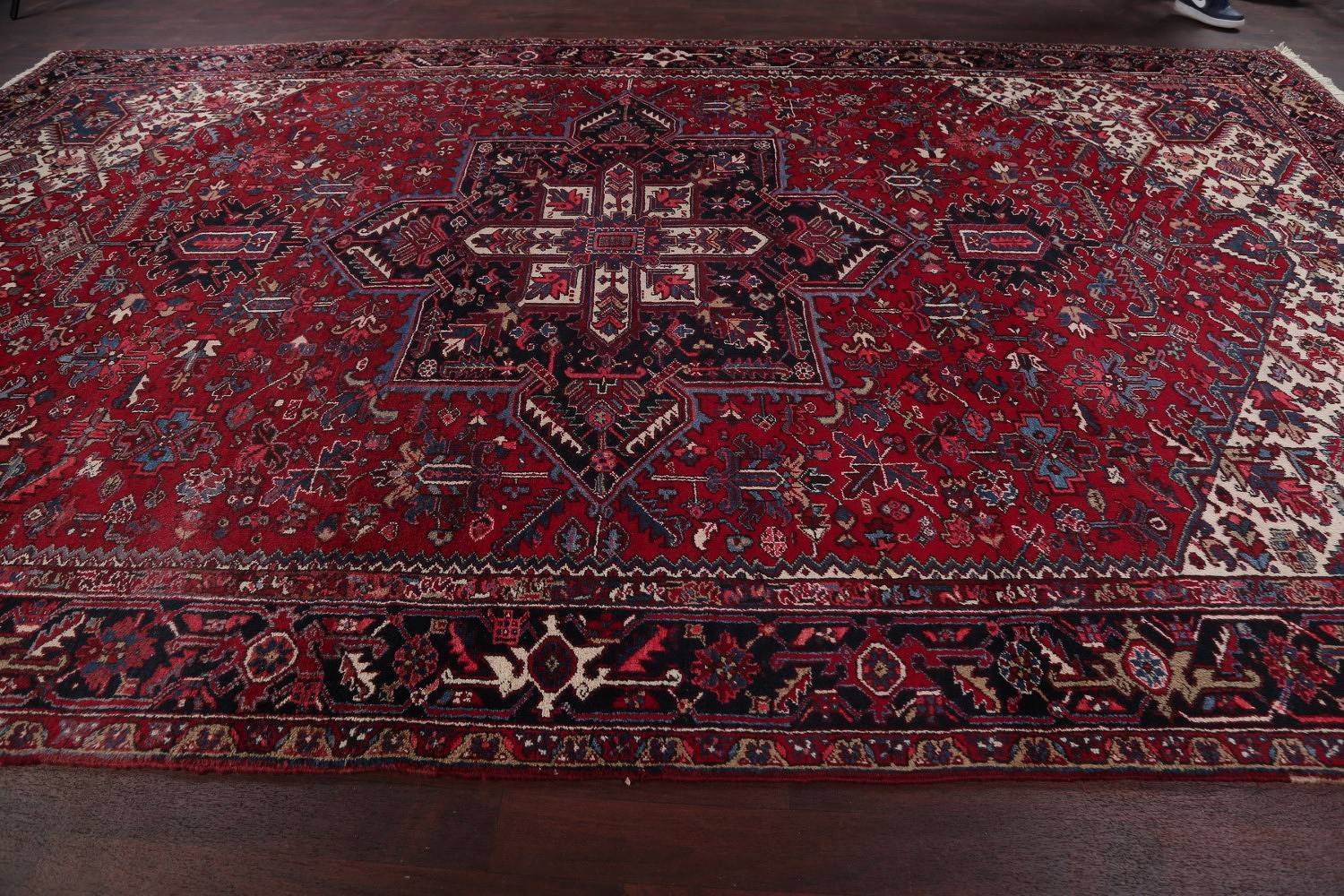 Mansion Vintage Geometric Red Heriz Persian Hand-Knotted Area Rug 10x16