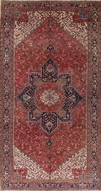 Palace Sized Geometric Red Heriz Serapi Persian Area Rug Wool 10x18