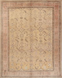 Geometric Beige Oushak Turkish Oriental Hand-Knotted Area Rug Wool 10x13