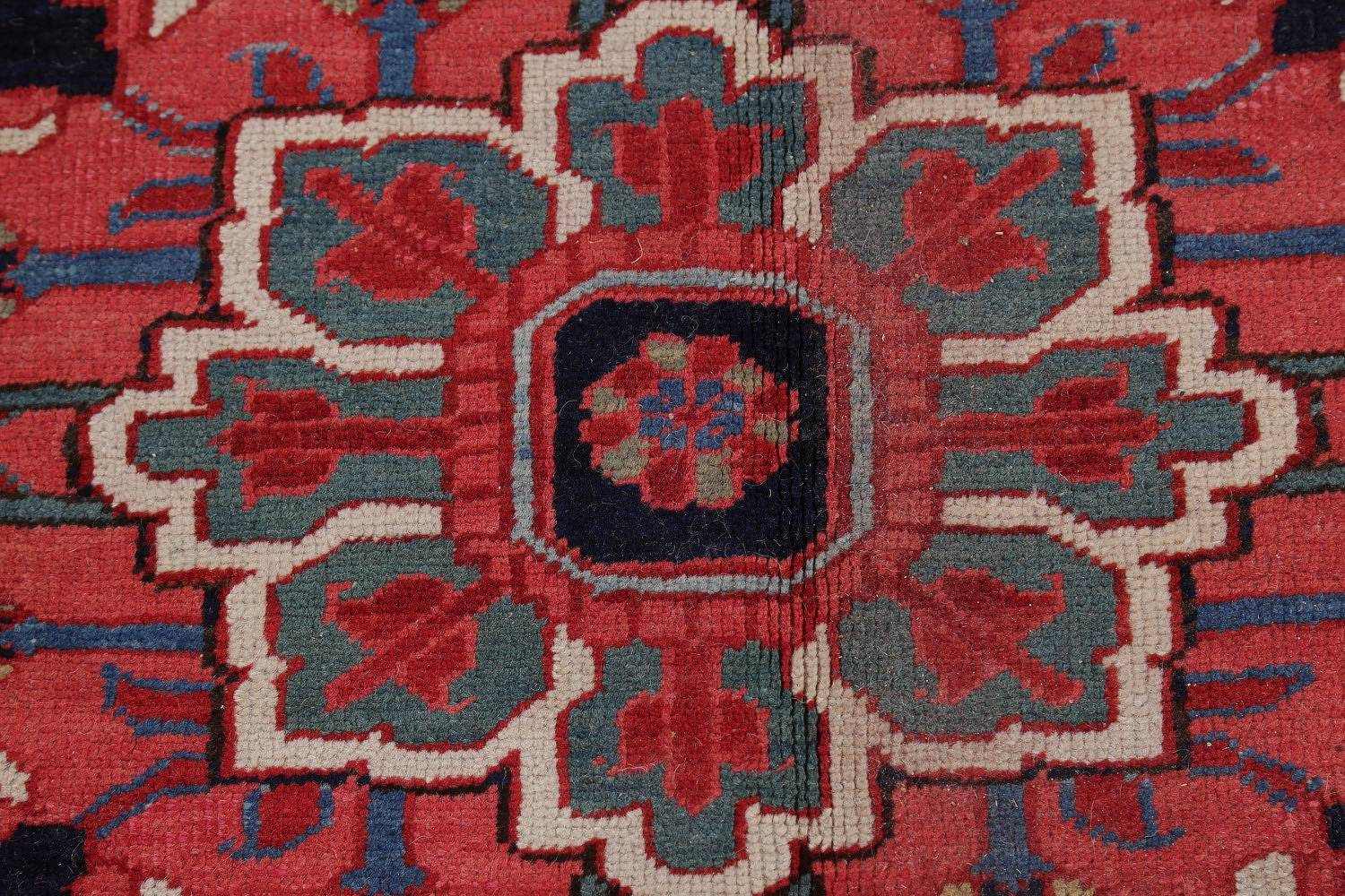 Pre-1900 Vegetable Dye Antique Geometric Heriz Serapi Persian Area Rug 11x13