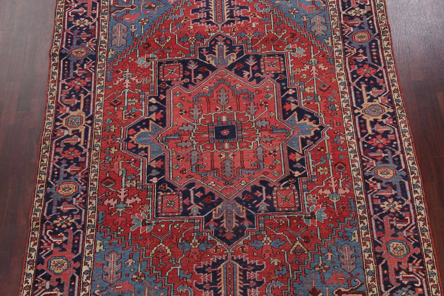 Antique Vegetable Dye Geometric Heriz Serapi Persian Area Rug Wool 7x10