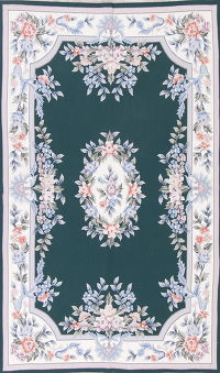 Green Aubusson Chinese Oriental Hand-Woven Area Rug Wool 5x8