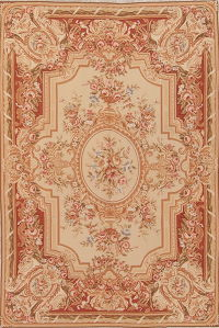 Fl Beige Aubusson Chinese Oriental Hand Woven Area Rug Wool 6x9