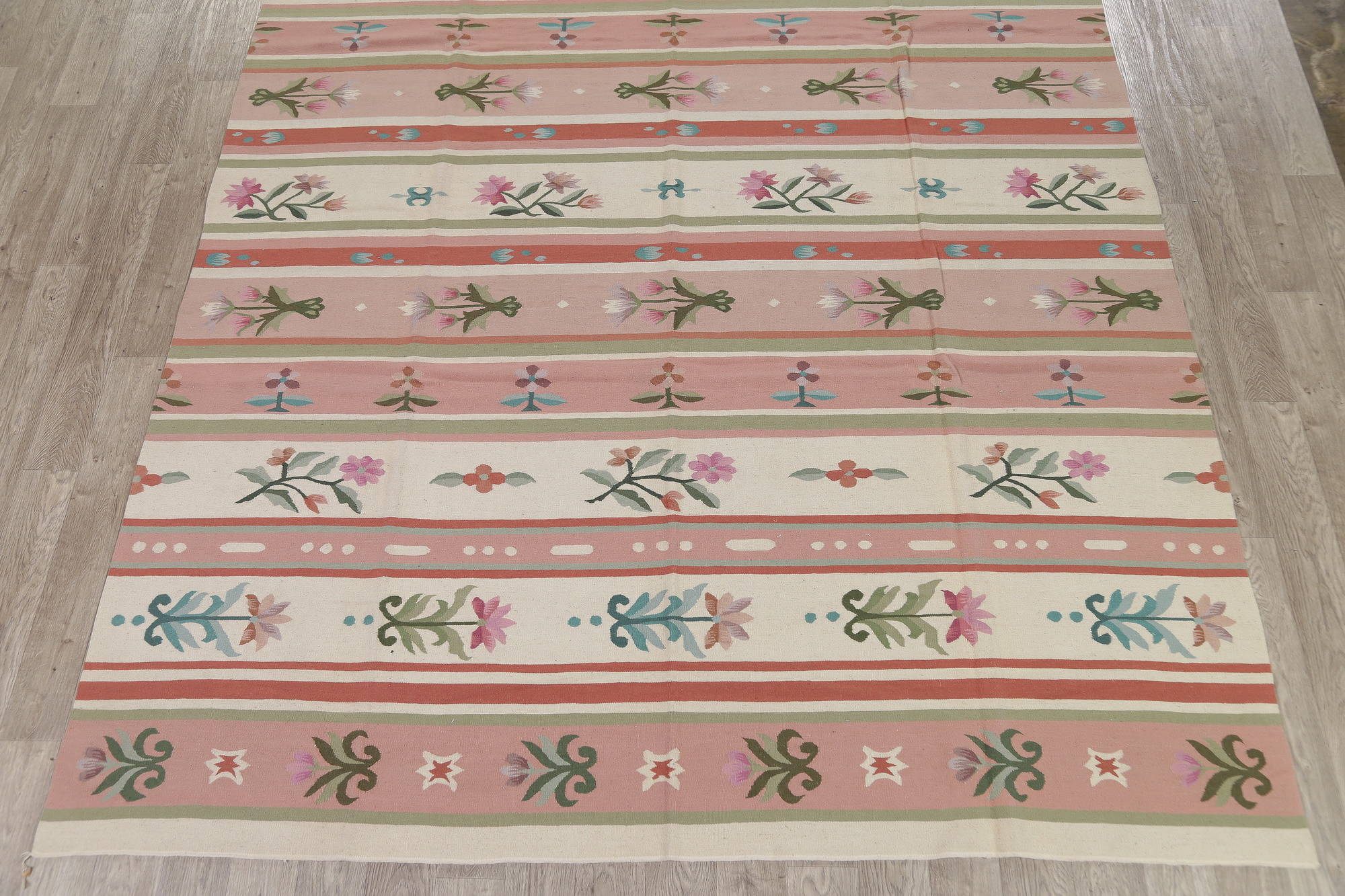 Floral Pink Kilim Indian Oriental Hand-Woven Area Rug Wool 9x12