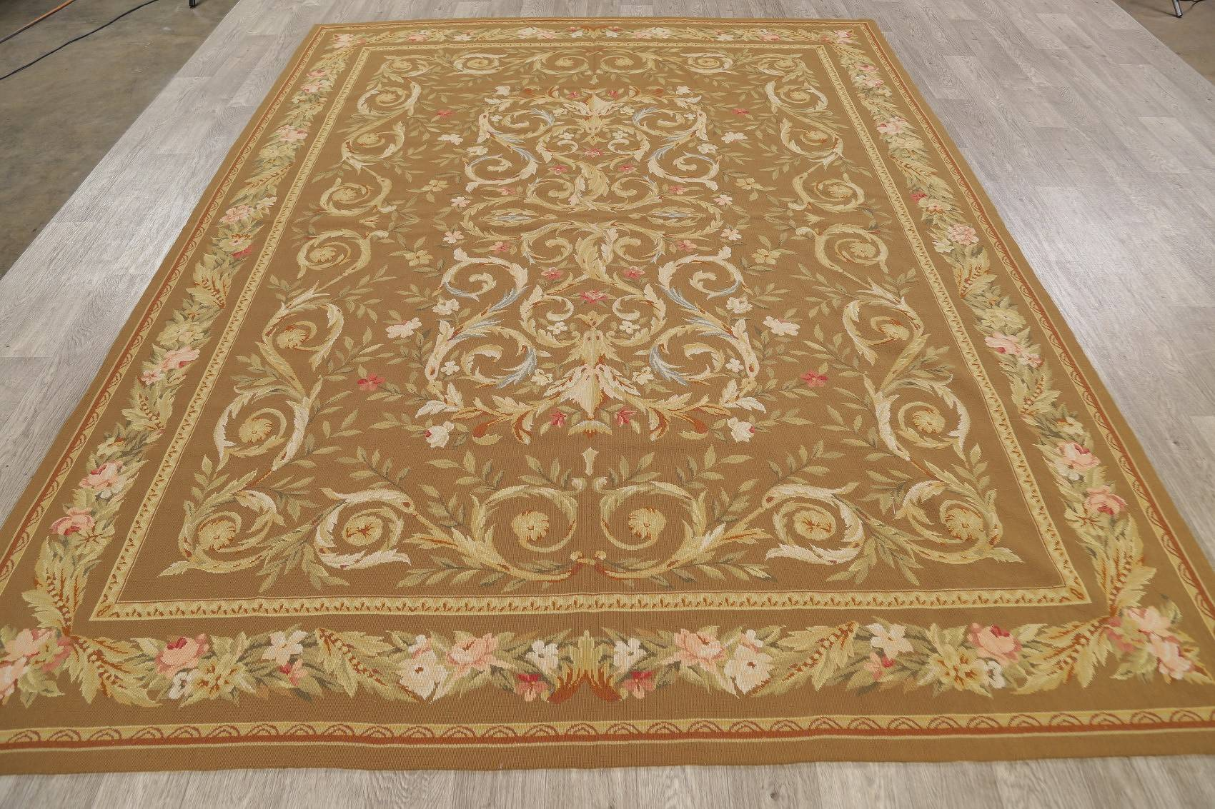 Floral Brown Aubusson Chinese Oriental Hand-Woven Area Rug Wool 8x10