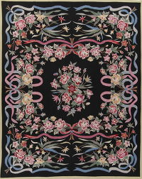 Transitional Black Aubusson Chinese Oriental Hand-Woven Area Rug Wool 8x10