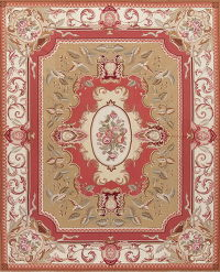 Transitional Aubusson Oriental Hand-Woven Area Rug Wool 8x10