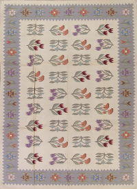 Transitional Floral Kilim Indian Oriental Hand-Woven Area Rug Wool 9x12