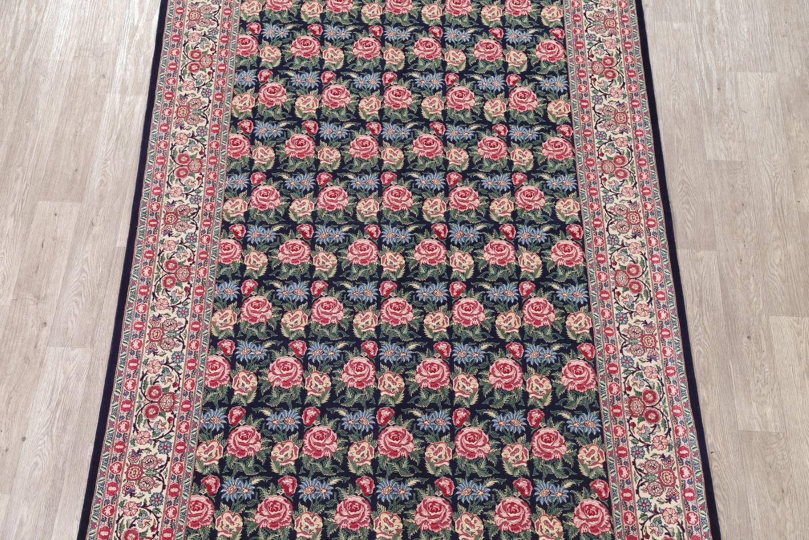 Transitional Black Kashan Oriental Hand-Knotted Area Rug Wool 6x9