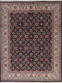 Transitional Black Kashan Oriental Hand-Knotted Area Rug Wool 9x12
