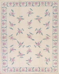 Floral Beige Kilim Indian Oriental Hand-Woven Area Rug Wool 8x10