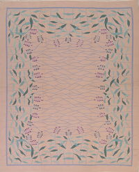 Floral Pink Kilim Indian Oriental Hand-Woven Area Rug Wool 8x10