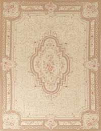 Floral Brown Aubusson Chinese Oriental Hand-Woven Area Rug Wool 9X11