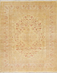 Floral Gold Oushak Oriental Hand-Knotted Area Rug Wool 8x10