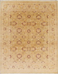 Gold Oushak Chobi Oriental Hand-Knotted Area Rug Wool 8x10