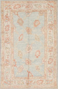 Vegetable Dye Muted Blue Oushak Turkish Hand-Knotted Area Rug 4x7