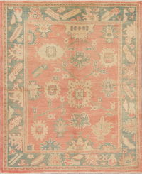 Vegetable Dye Muted Coral Oushak Turkish Hand-Knotted Area Rug 6x7