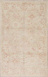 Vegetable Dye Muted Oushak Turkish Hand-Knotted Area Rug 4x7