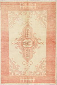 Vegetable Dye Muted Oushak Turkish Hand-Knotted Area Rug Wool 5x7