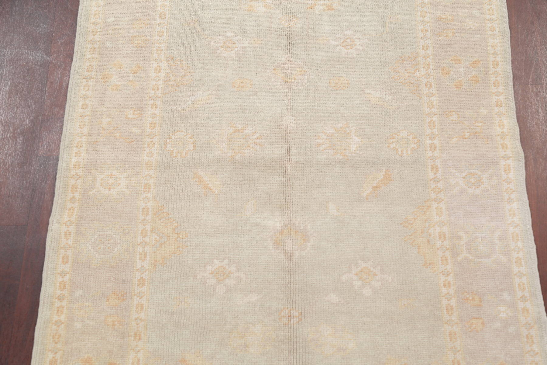 Vegetable Dye Muted Silver Grey Oushak Turkish Hand-Knotted Area Rug 6x4
