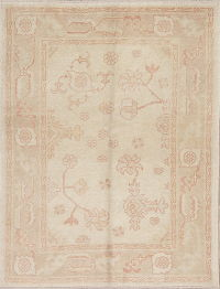 Vegetable Dye Muted Beige Oushak Turkish Hand-Knotted Area Rug 4x5
