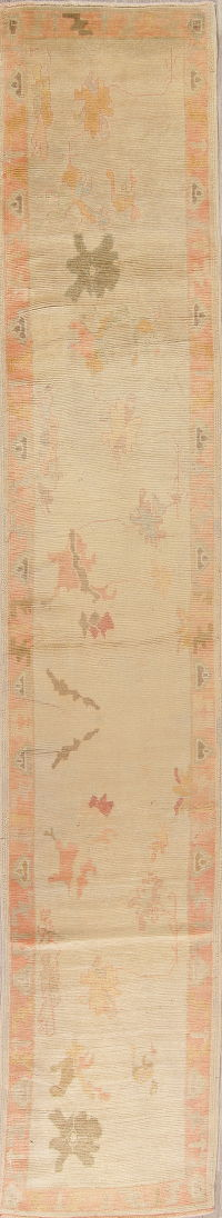 Vegetable Dye Muted Beige Oushak Turkish Hand-Knotted Runner Rug 3x16
