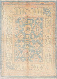 Vegetable Dye Muted Blue Oushak Turkish Hand-Knotted Area Rug 6x8