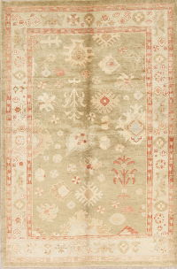 Vegetable Dye Muted Green Oushak Turkish Hand-Knotted Area Rug 5x8