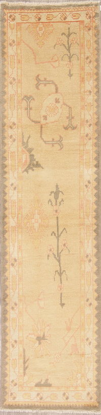 Vegetable Dye Muted Gold Oushak Turkish Hand-Knotted Runner Rug 3x10