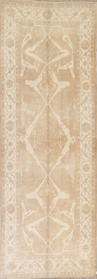 Vegetable Dye Muted Brown Oushak Turkish Hand-Knotted Runner Rug 6x16