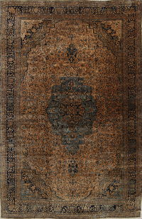 Pre-1900 Antique Floral Rust Sarouk Farahan Persian Hand-Knotted Area Rug Wool 12x18