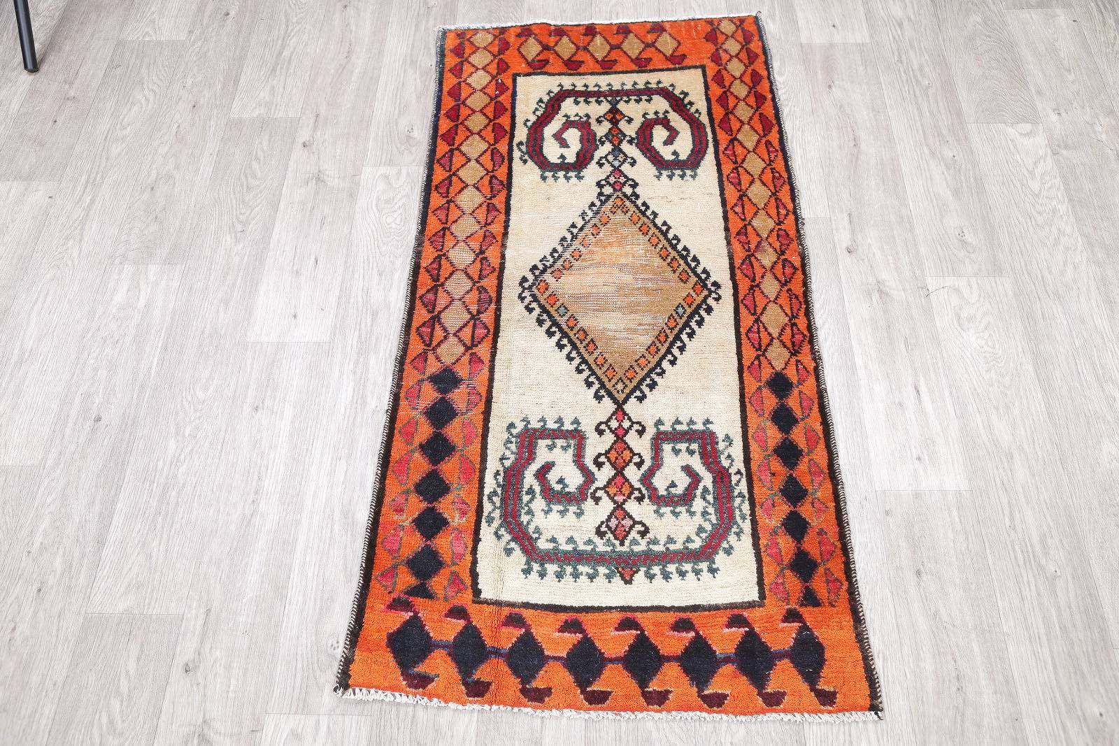 Antique Geometric Gabbeh Qashqai Persian Hand Knotted 2x5