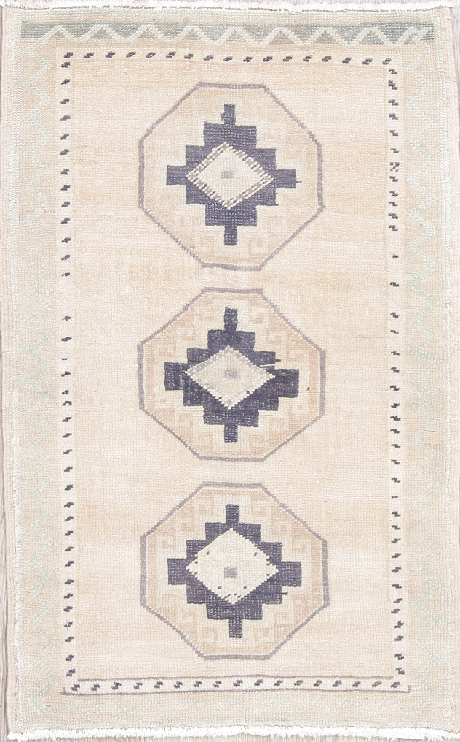 Geometric Oushak Turkish Hand Knotted 2x3 Beige Wool Rug